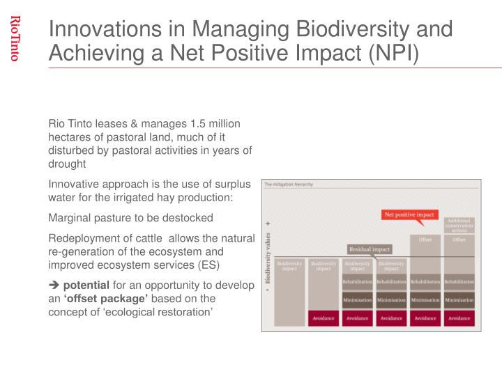 Innovations in Managing Biodiversity and Achieving a Net Positive Impact (NPI)