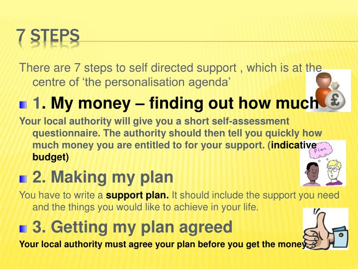 There are 7 steps to self directed support , which is at the centre of 'the personalisation agenda'