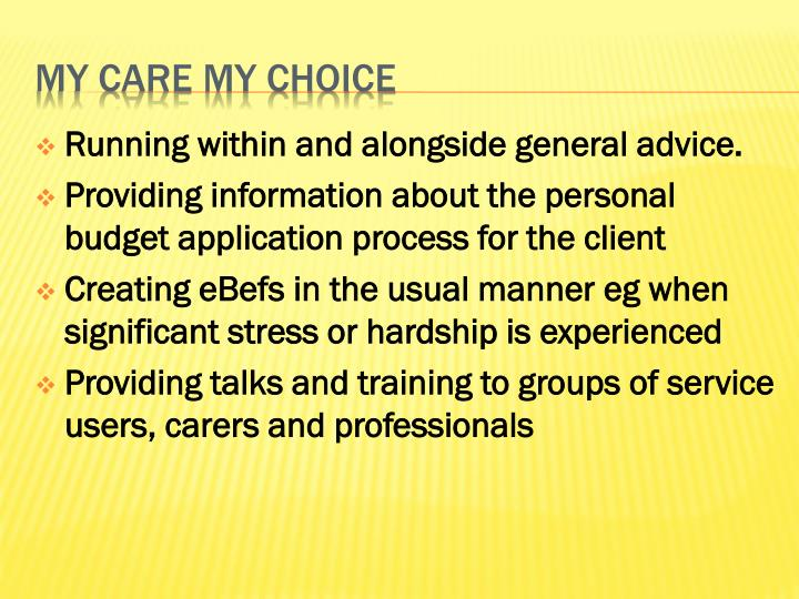 Running within and alongside general advice.