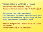 personalisation is a user led approach