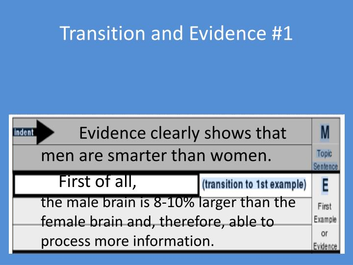 Transition and Evidence #1