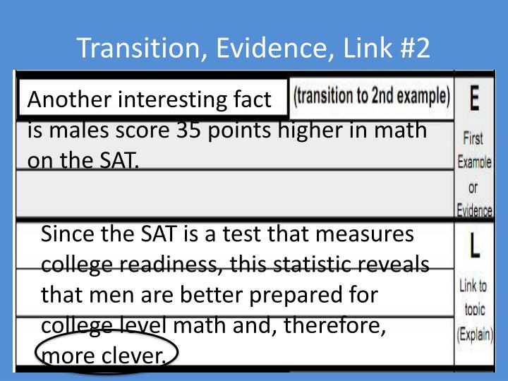 Transition, Evidence, Link #2