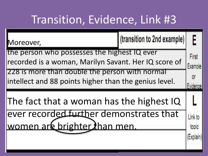 Transition, Evidence, Link #3