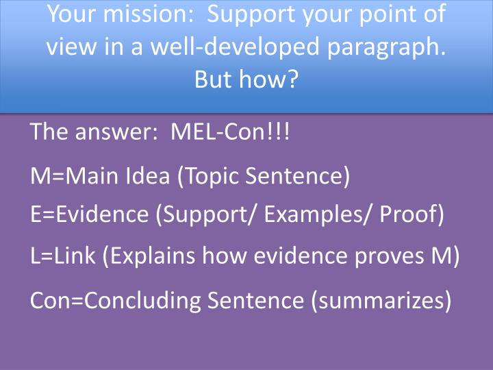 Your mission:  Support your point of view in a well-developed paragraph.  But how?