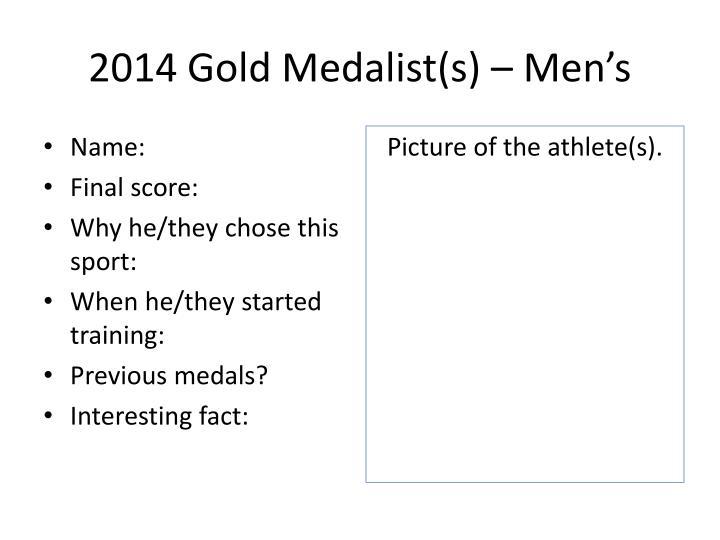 2014 Gold Medalist(s) – Men's