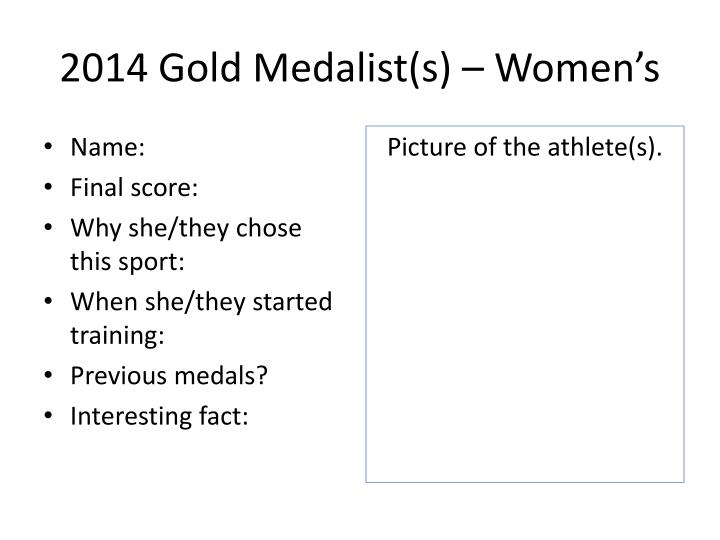 2014 Gold Medalist(s) – Women's