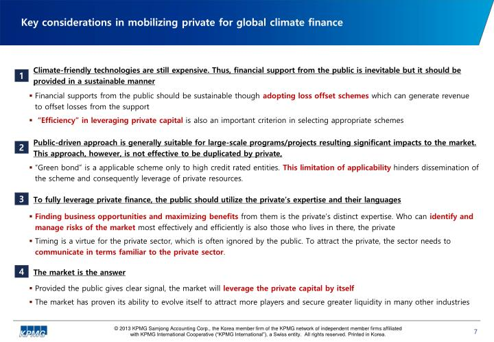 Key considerations in mobilizing private for global climate finance