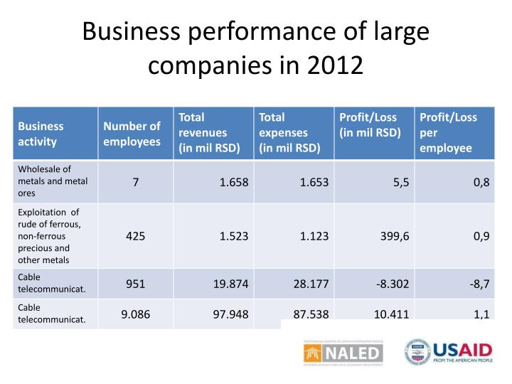 Business performance of large companies in