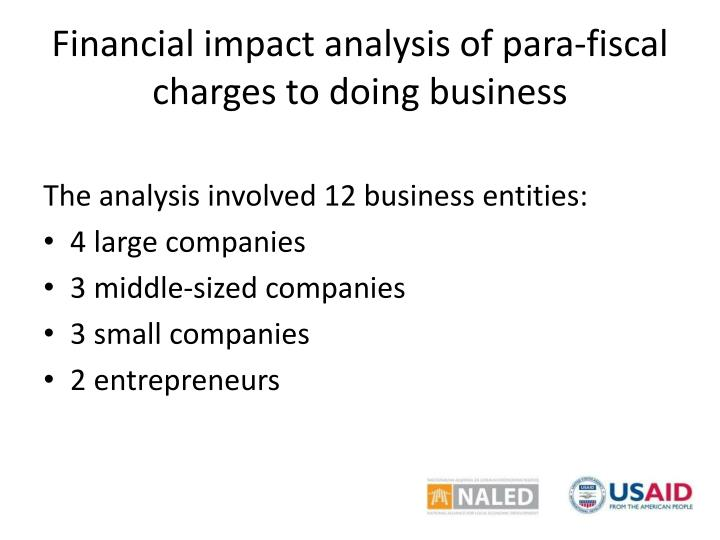Financial impact analysis of para-fiscal charges to doing business