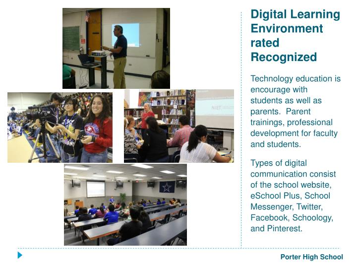Digital Learning Environment rated Recognized