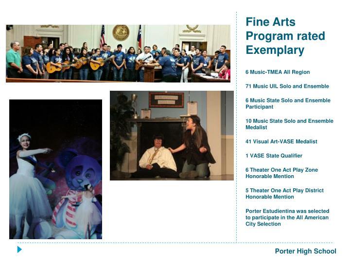 Fine Arts Program rated Exemplary