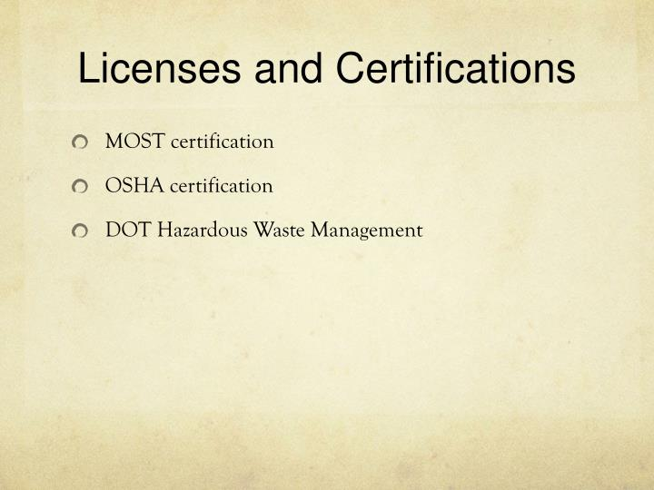 Licenses and