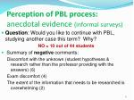 perception of pbl process anecdotal evidence informal surveys1