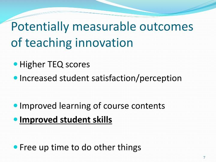 Potentially measurable outcomes of teaching innovation