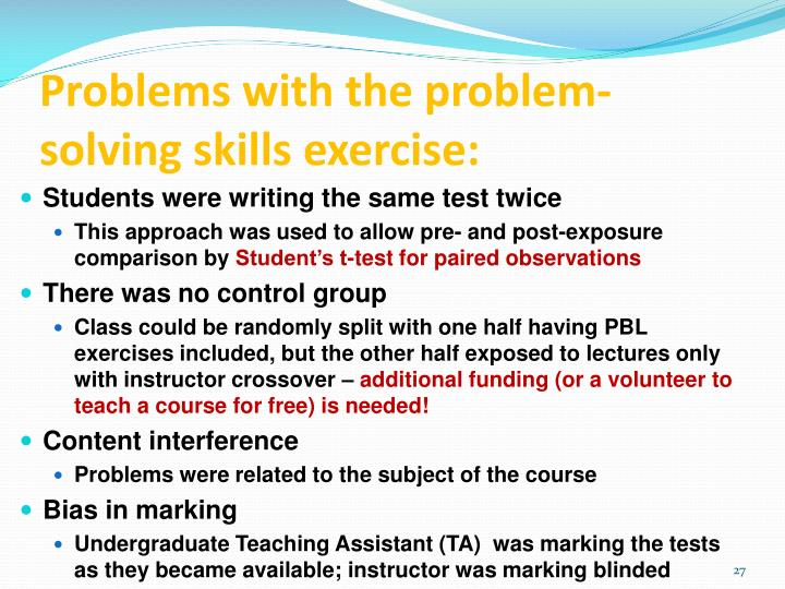 Problems with the problem-solving skills exercise: