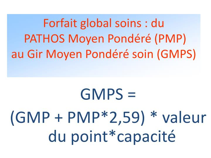 Forfait global soins : du