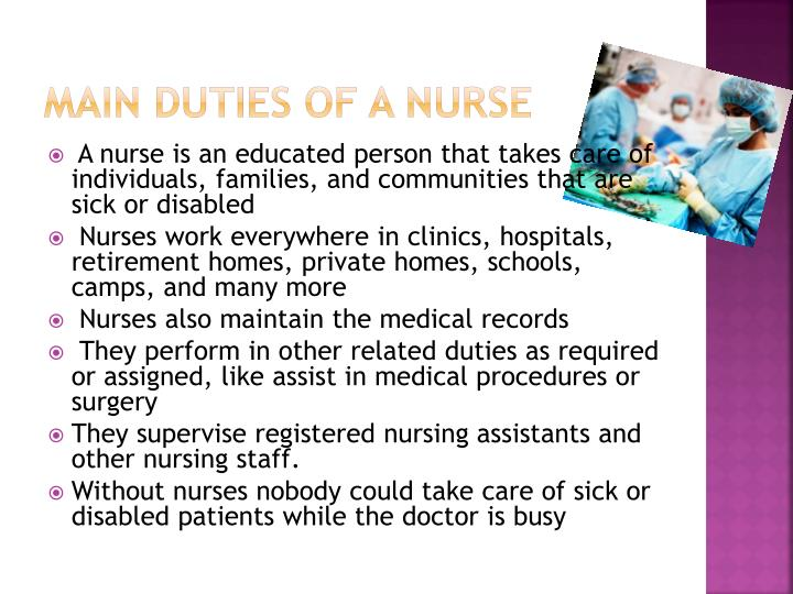 Main Duties of A nurse