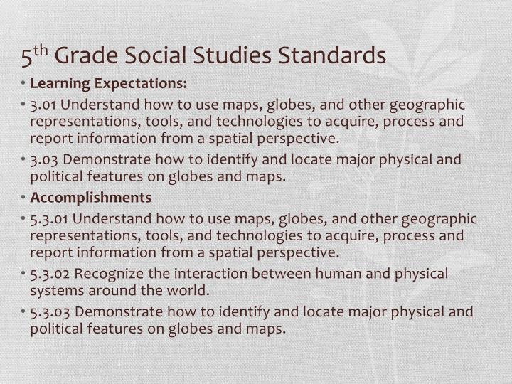 5 th grade social studies standards