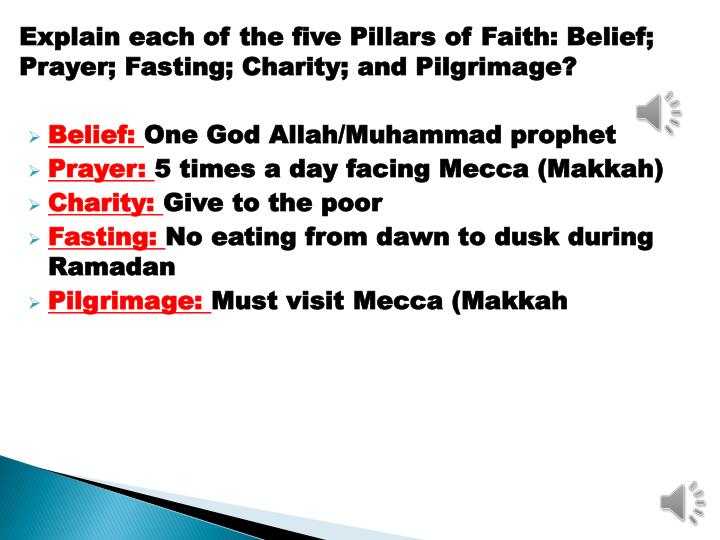 Explain each of the five Pillars of Faith: Belief; Prayer; Fasting; Charity; and Pilgrimage?