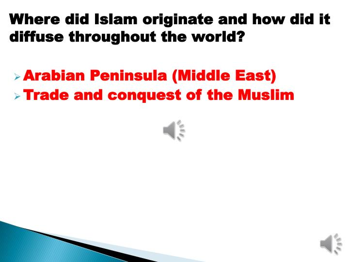 Where did Islam originate and how did it diffuse throughout the world?