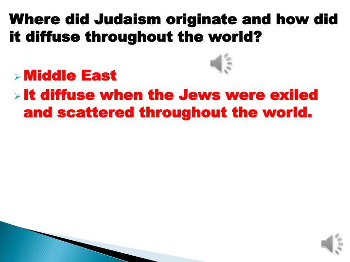 Where did Judaism originate and how did it diffuse throughout the world?