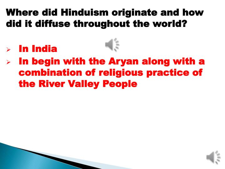 Where did Hinduism originate and how did it diffuse throughout the world?