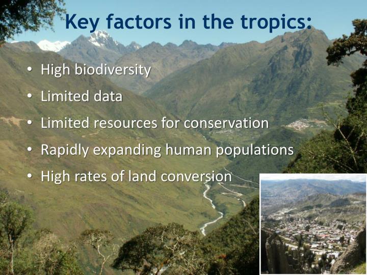 Key factors in the tropics: