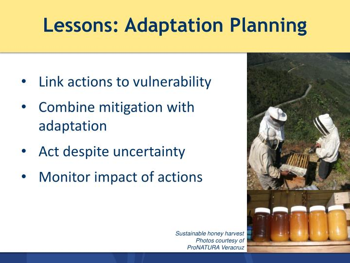 Lessons: Adaptation Planning