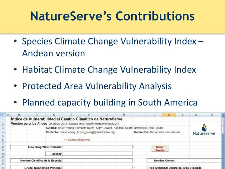 NatureServe's Contributions