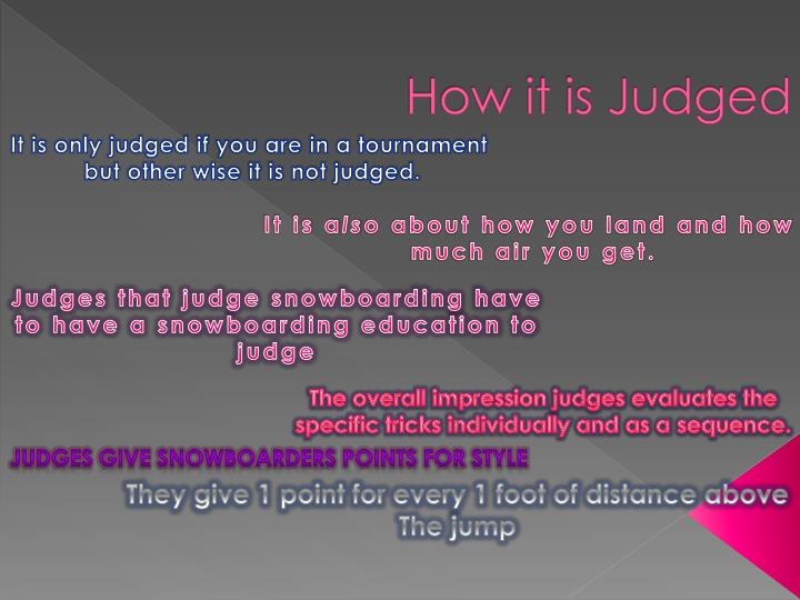 How it is Judged