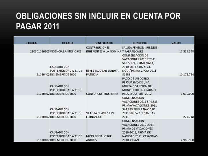 OBLIGACIONES SIN INCLUIR EN CUENTA POR PAGAR 2011