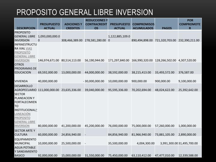 PROPOSITO GENERAL LIBRE INVERSION