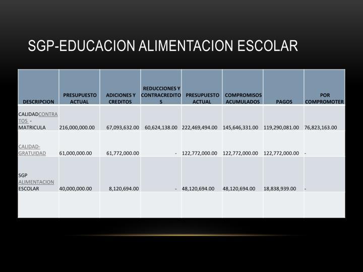 SGP-EDUCACION ALIMENTACION ESCOLAR