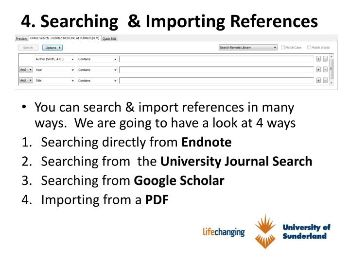 4. Searching  & Importing References