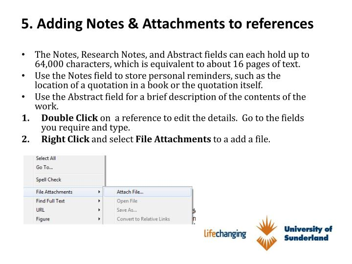 5. Adding Notes & Attachments to references