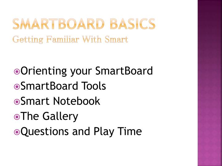 Smartboard basics getting familiar with smart