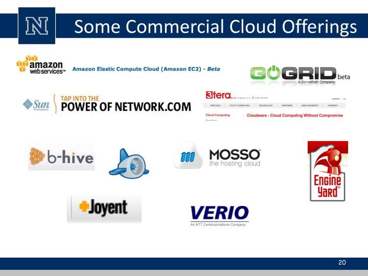 Some Commercial Cloud Offerings