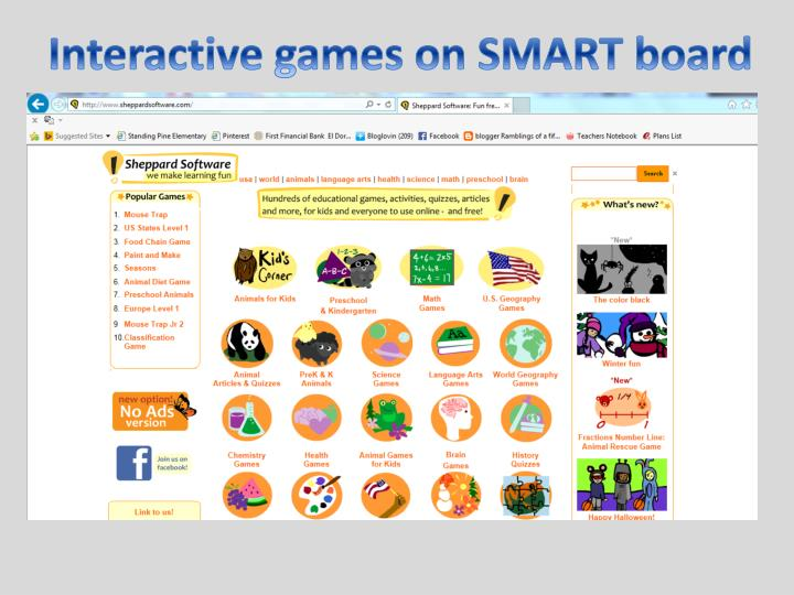 Interactive games on SMART board