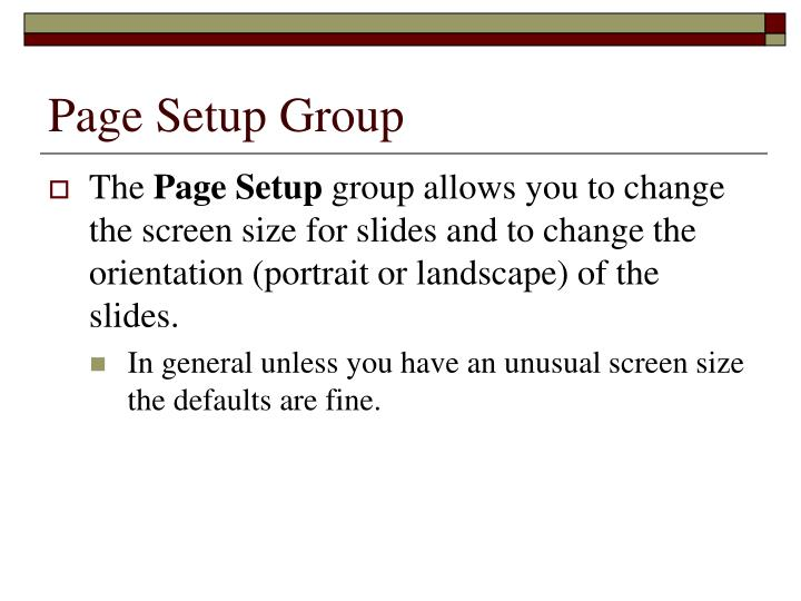 Page Setup Group