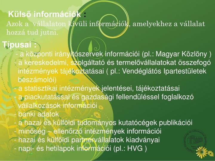 Külső információk