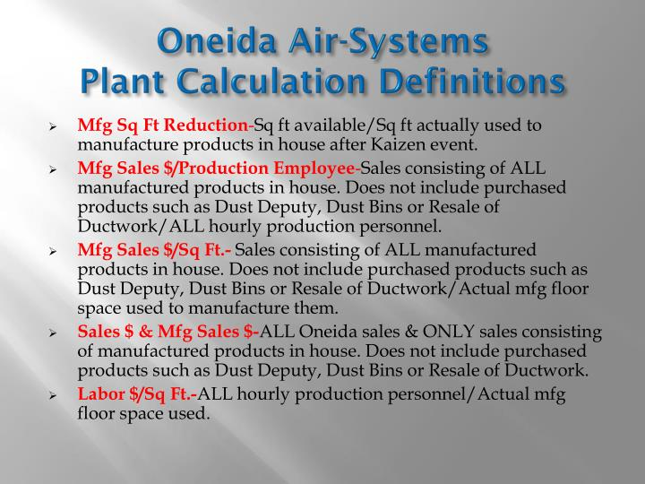 Oneida air systems plant calculation definitions