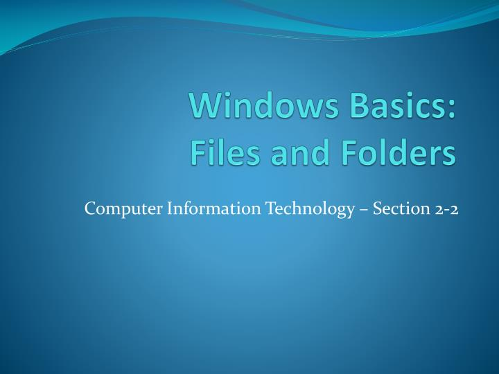 windows basics files and folders