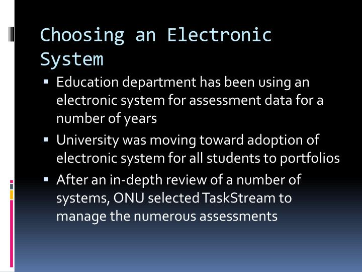 Choosing an Electronic System