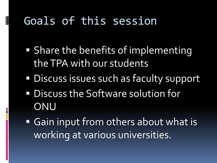 Goals of this session