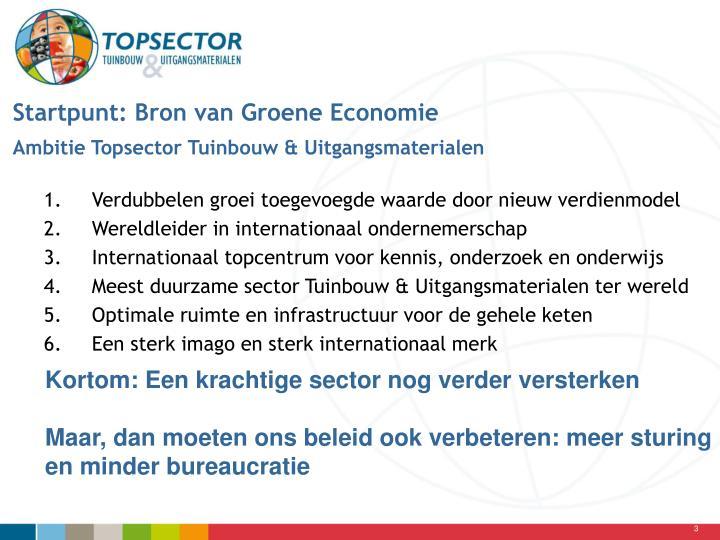 Startpunt: Bron van Groene Economie
