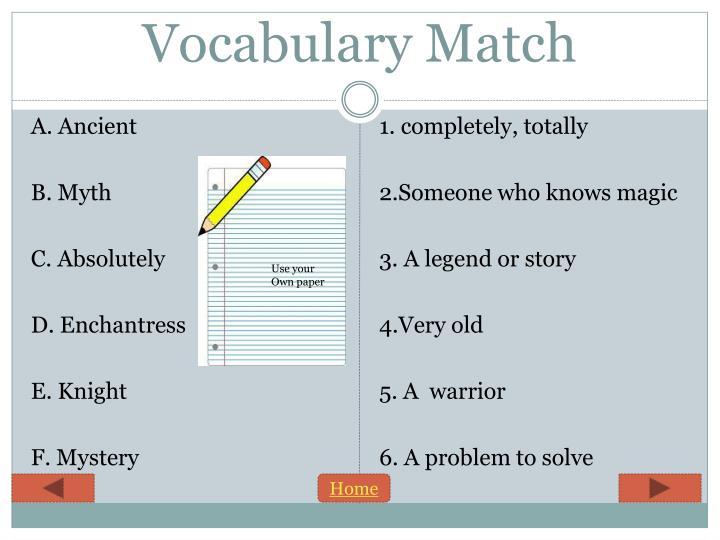 Vocabulary Match