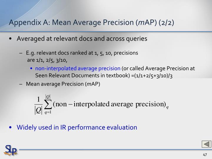 Appendix A: Mean Average Precision (