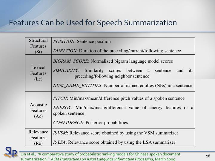 Features Can be Used for Speech Summarization