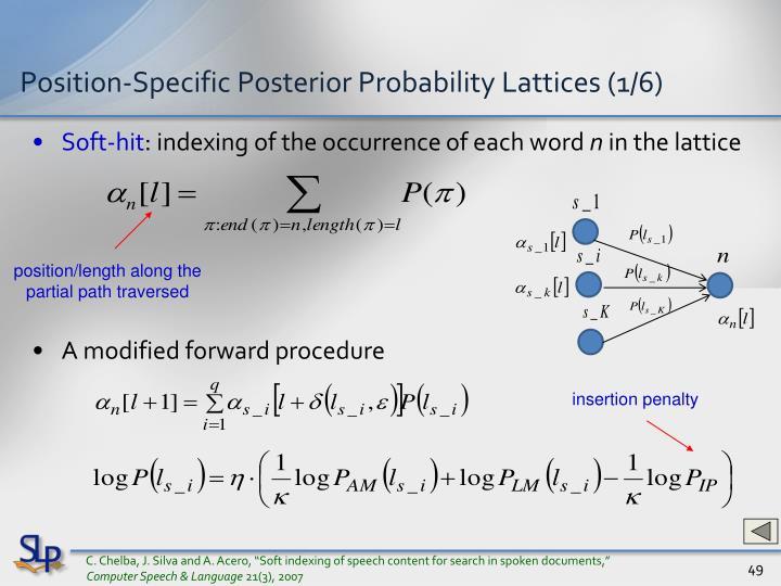 Position-Specific Posterior Probability Lattices (1/6)