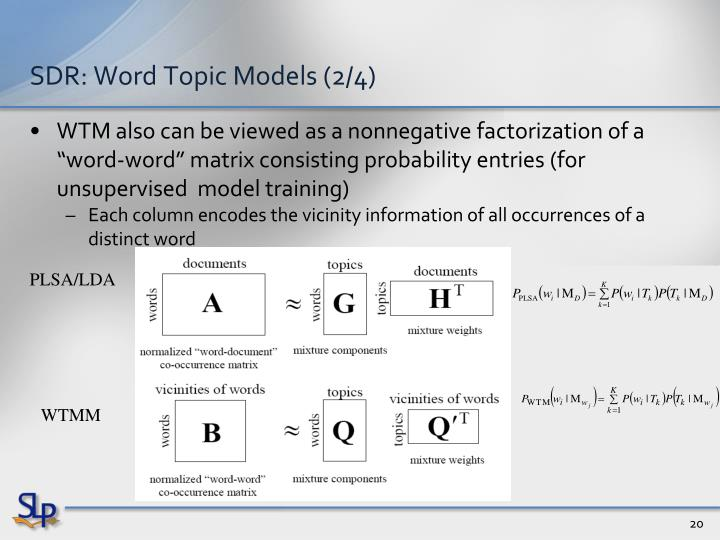 SDR: Word Topic Models (2/4)